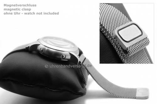 Uhrenarmband 20mm schwarz Milanaise feines Geflecht vorbereitet für EASY-CLICK mit Magnetverschluss von BandOh - Bild vergrößern
