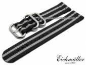 Uhrenarmband 22mm schwarz Textil Military-Look ZULU NATO-Design graue Streifen von EICHMÜLLER