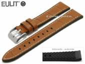 Uhrenarmband Belize 20mm hellbraun Leder/Silikon Alligator-Prägung helle Naht von EULIT (Schließenanstoß 18 mm)