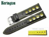 Uhrenarmband Racing 20mm schwarz Rindleder gelbe Naht von Barington (Schließenanstoß 18 mm)