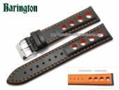 Uhrenarmband Racing 18mm schwarz Rindleder orangefarbene Naht Barington (Schließenanstoß 16 mm)