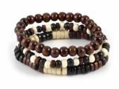 (Schmuck-) Armband-Set 3-teilig Holz schwarz/braun/beige - Bandlänge ca. 20cm