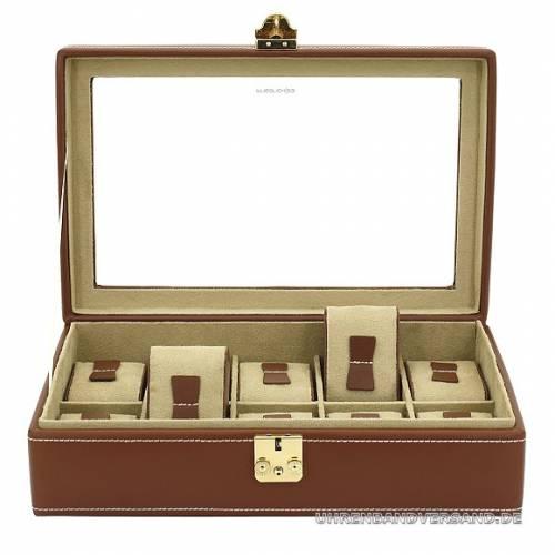 Uhrenkasten -Cordoba- braun echt Leder glatt für bis zu 10 Armbanduhren - Bild vergrößern