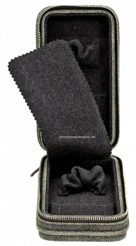 Uhrenetui -Cubano- antikschwarz echt Leder Vintage-Look abgenäht für 1 bis 2 Armbanduhren - Bild vergrößern