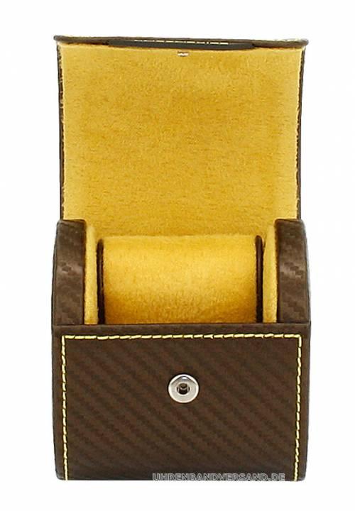 Uhrenrolle -Carbon- dunkelbraun Synthetik Carbon-Struktur gelbe Naht für 1 Armbanduhr - Bild vergrößern