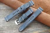 GREENPILOT Uhrenarmband handgemacht 22mm dunkelblau echt Büffel Vintage-Look Made in Germany (Schließenanstoß 20 mm)