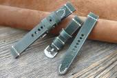 GREENPILOT Uhrenarmband handgemacht 22mm dunkelgrün Leder Vintage-Look Made in Germany (Schließenanstoß 20 mm)