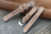 GREENPILOT Uhrenarmband handgemacht 22mm beige echt Büffel Vintage-Look Made in Germany (Schließenanstoß 20 mm)