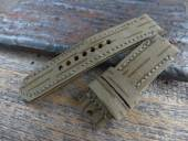 GREENPILOT Uhrenarmband handgemacht XL 22mm oliv/braun Textil/Leder NVA-Look Made in Germany (Schließenanstoß 22 mm)