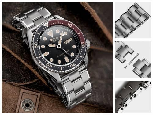 Uhrenarmband 22mm Edelstahl massiv teilweise poliert mit Sicherheitsfaltschließe von GECKOTA - Bild vergrößern