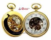 Mechanische Taschenuhr acidvergoldet Ziffernblatt weiß teilweise skelettiert Gardé (Ruhla) (*GD*TU*)