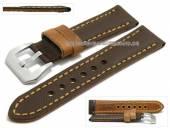 Uhrenarmband 24mm dunkelbraun Synthetik/Leder Textil-Look hellbraune Naht (Schließenanstoß 22 mm)