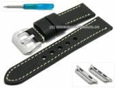 Uhrenarmband 22mm schwarz Leder Vintage-Look mit Adapter 38mm für APPLE Smartwatches (Schließenanstoß 20 mm)