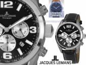 Chronograph Ziffernblatt schwarz/silber sportlich-elegantes Design von Jacques Lemans (*JL*HU*)