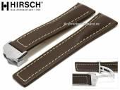 Luxus-Uhrenarmband Navigator 24mm dunkelbraun Leder helle Naht mit Faltschließe von HIRSCH (Schließenanstoß 20 mm)