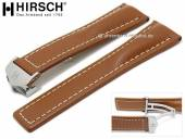 Luxus-Uhrenarmband Navigator 24mm hellbraun Leder helle Naht mit Faltschließe von HIRSCH (Schließenanstoß 20 mm)