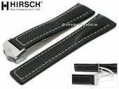 Luxus-Uhrenarmband Navigator 24mm schwarz Leder helle Naht mit Faltschließe von HIRSCH (Schließenanstoß 20 mm)