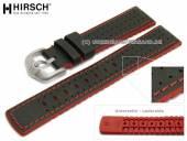 Uhrenarmband Robby 24mm schwarz Leder/Kautschuk Segeltuch-Optik rote Naht von HIRSCH (Schließenanstoß 22 mm)