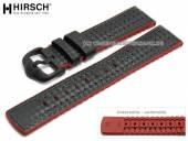 Uhrenarmband Ayrton 20mm schwarz Leder/Kautschuk Carbon-Optik rote Seitenkanten von HIRSCH (Schließenanstoß 18 mm)