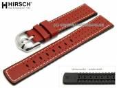 Uhrenarmband Tiger 22mm rot Leder/Kautschuk Racing-Look helle Naht von HIRSCH (Schließenanstoß 20 mm)