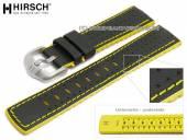 Uhrenarmband Robby 24mm schwarz Leder/Kautschuk Segeltuch-Optik gelbe Naht von HIRSCH (Schließenanstoß 22 mm)