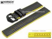 Uhrenarmband Ayrton 24mm schwarz Leder/Kautschuk Carbon-Optik gelbe Seitenkanten von HIRSCH (Schließenanstoß 22 mm)