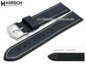 Uhrenarmband George 22mm dunkelblau Leder/Kautschuk Alligator-Prägung helle Naht von HIRSCH (Schließenanstoß 20 mm)