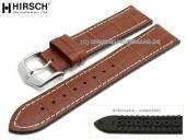 Uhrenarmband George 24mm goldbraun Leder/Kautschuk Alligator-Prägung helle Naht von HIRSCH (Schließenanstoß 22 mm)