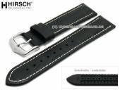 Uhrenarmband George 20mm schwarz Leder/Kautschuk Alligator-Prägung helle Naht von HIRSCH (Schließenanstoß 18 mm)