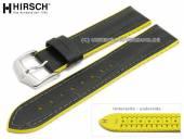 Uhrenarmband Andy 18mm schwarz Leder/Kautschuk Alligator-Prägung gelbe Seitenkanten von HIRSCH (Schließenanstoß 16 mm)
