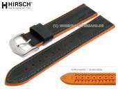 Uhrenarmband Andy 18mm schwarz Leder/Kautschuk Alligator-Prägung orange Seitenkanten HIRSCH (Schließenanstoß 16 mm)