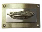 Gürtelschließe Metall silberfarben Feder-Motiv passend für Gürtelbreite 40 mm