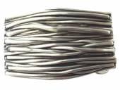 Gürtelschließe Metall silberfarben Streifenrelief passend für Gürtelbreite 40 mm