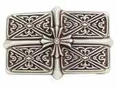 Gürtelschließe Metall silberfarben Kreuz-Motiv passend für Gürtelbreite 40 mm