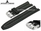 Original Ersatz-Uhrenarmband JACQUES LEMANS schwarz Leder Spezialanstoß helle Naht für 1-1838A etc.