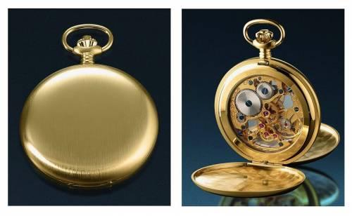 Mechanische Savonette-Taschenuhr goldfarben Ziffernblatt skelettiert mit Sprungdeckel von JEAN JACOT (*JT*TU*) - Bild vergrößern