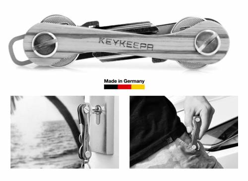 KEYKEEPA Schlüsselorganizer Edelholz Zebrano hellbraun - Made in Germany - Bild vergrößern