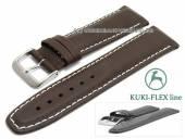 Uhrenarmband L (lang) 22mm dunkelbraun Leder KUKI-FLEX Patent helle Naht von KUKI (Schließenanstoß 20 mm)