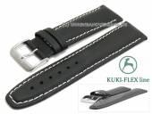 Uhrenarmband L (lang) 24mm schwarz Leder KUKI-FLEX Patent helle Naht von KUKI (Schließenanstoß 20 mm)