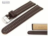 Uhrarmband 22mm dunkelbraun RIOS Maranello glatt Wulst helle Naht (Schließenanstoß 20 mm)