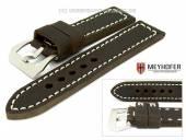 Uhrenarmband Trondheim 26mm dunkelbraun Antik-Look Kontrastnaht MEYHOFER (Schließenanstoß 26 mm)