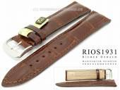Uhrenarmband Windsor 19mm mahagoni RIOS echt Alligator gepolstert abgenäht (Schließenanstoß 16 mm)