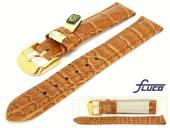 Uhrenarmband XL 22mm goldbraun echt Louisiana Alligator von Fluco (Schließenanstoß 20 mm)