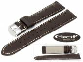 Uhrenarmband Dakar 20mm dunkelbraun fein genarbt helle Naht von Graf (Schließenanstoß 18 mm)