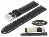 Uhrenarmband Dakar 20mm schwarz fein genarbt weiße Naht von Graf (Schließenanstoß 18 mm)