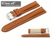 Uhrenarmband Alpin 18mm hellbraun leicht genarbt helle Naht Wulst von Graf (Schließenanstoß 18 mm)
