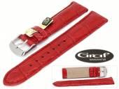 Uhrenarmband Louisiana 20mm rot echt Alligator Wulst matt von Graf (Schließenanstoß 18 mm)