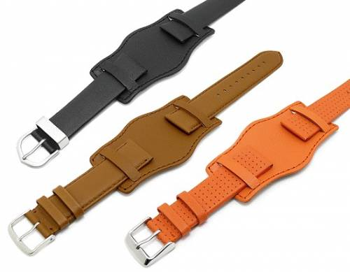Lederunterlage für Uhrenarmbänder aus Leder 20-24mm pink abgenäht - Bild vergrößern