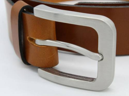 1 Gürtel HANDMADE IN GERMANY -Paul- hellbraun Leder vegetabil Stahlschließe RIEMENMEISTER - Größe 90 (Breite ca. 4 cm) - Bild vergrößern