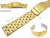 Uhrenarmband Edelstahl 20mm massiv vergoldet teilweise poliert